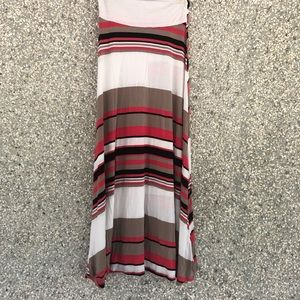 Tan and coral striped maxi skirt
